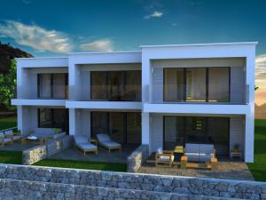 Novalja, luksuzni dvoetažni apartmani sa vrtom u kućama u nizu, novogradnja