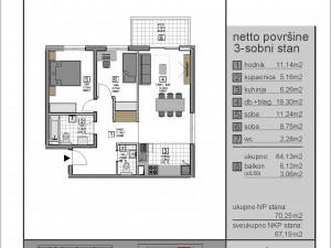 Višnjik, dvosoban stan sa dva parkirna mjesta, novogradnja